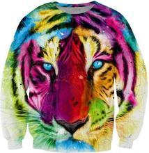 ฮาราจูกุแฟชั่นลำลองเสื้อผู้หญิงผู้ชาย3dเสื้อพิมพ์เรนโบว์เสือH Oodies P Ulloversการ์ตูนเสื้อกราฟิก