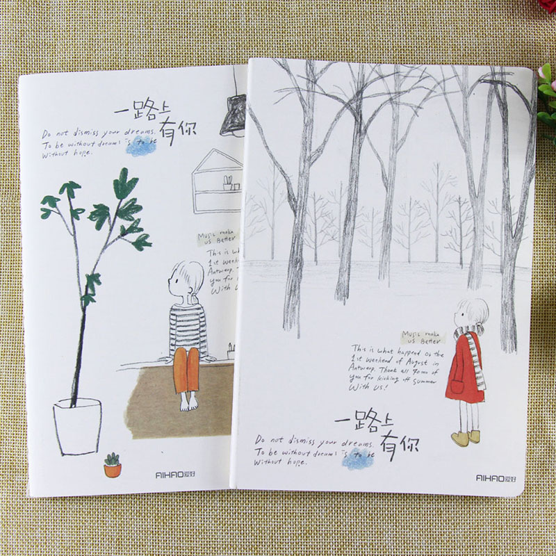 Summer/Winter Trees Notebooks A5 76 pages Notes Diary Notepad Calendar Sketchbook Graffiti Office School Stationery Gifts