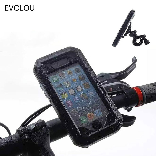 on sale 4a3f4 cb0b3 US $15.58 20% OFF Motorcycle Bicycle Phone Holder Bag for iphone X XS Max 8  7 6 Plus 5 Waterproof Case Mobile Support Bike Handlebar Holder Stand-in ...