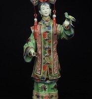 الصين الخزف wucai فخار قصر المحكمة الببغاء الطيور السيدات الديكور تمثال-في تماثيل ومنحوتات من المنزل والحديقة على