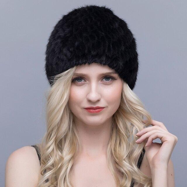 QIUSIDU אמיתי מינק פרווה כובע נשים סרוג חורף חם חדש כובע 2017 פסים אננס רוסית רירית בארה 'ב מרופד טבעי כובעים