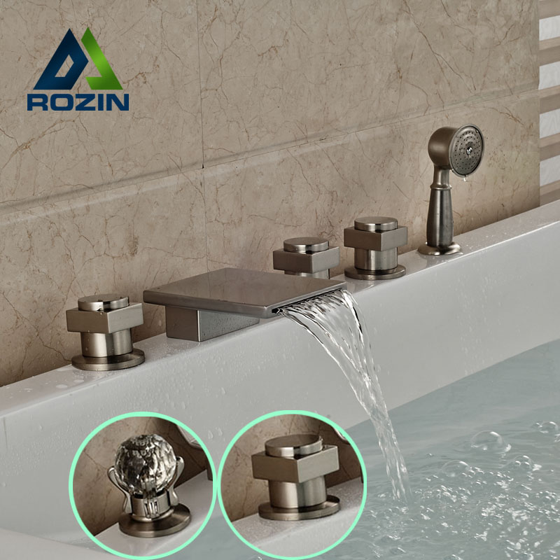 Newly Widespread Waterfall Spout 5pcs Bath Tub Faucet Deck Mount  Pull Out Handshower Tub Mixer Taps Brushed Nickel