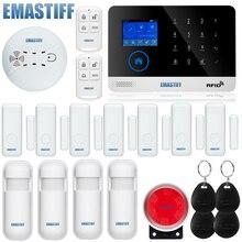 Четырехдиапазонная беспроводная wifi gsm сигнализация TFT дисплей датчик двери домашняя охранная сигнализация проводной сирена комплект SIM SMS сигнализация