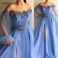 Superbes perles cristal longues robes de bal 2019 élégantes Appliques robes de soirée longue Illusion Cap manches robes de soirée