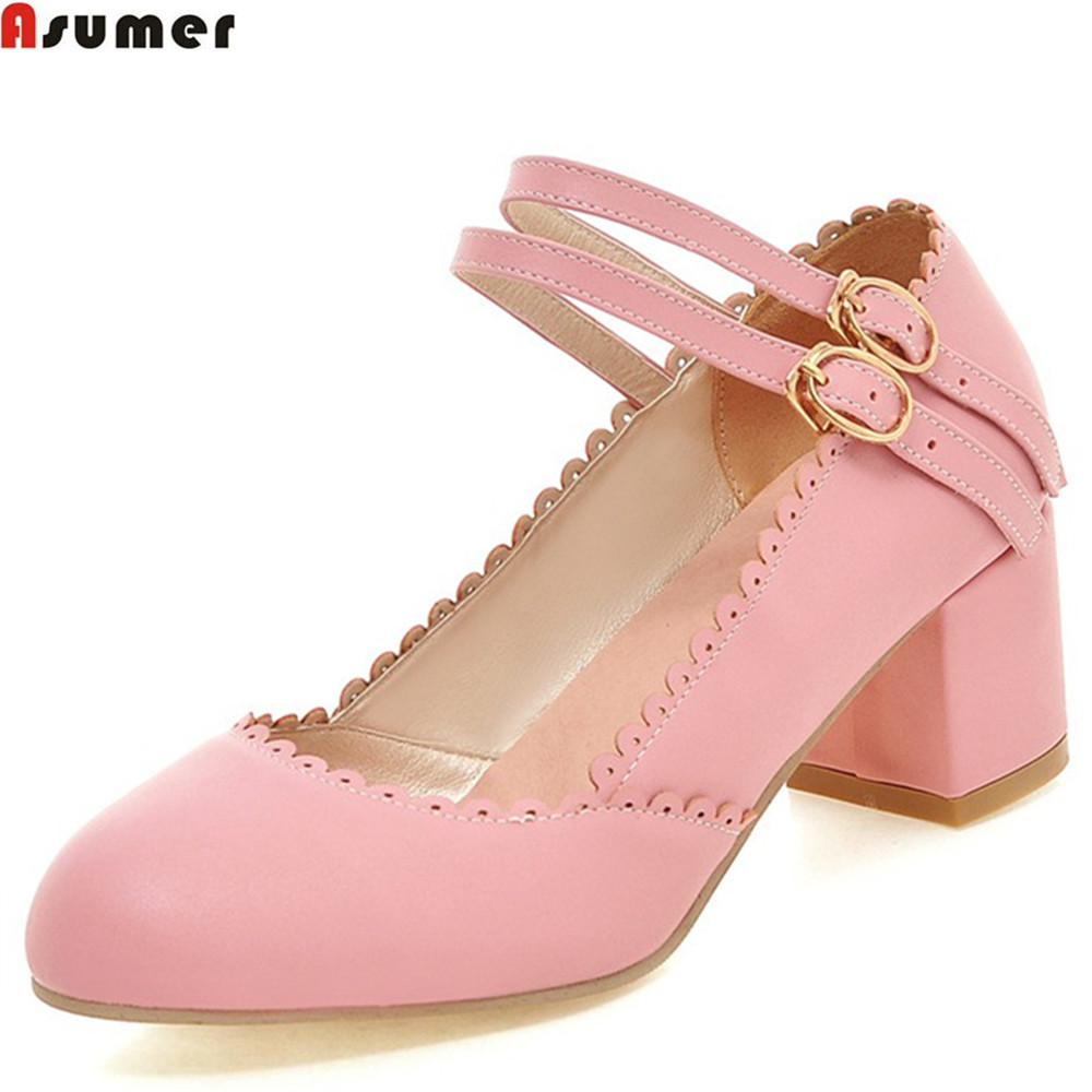 ASUMER pink blue round toe buckle spring autumn shoes woman square heel casual prom shoes women high heels shoes big size 33-43 vallkin size 34 43 white buckle strap round toe women pump square high heels solid autumn spring lady party shoes