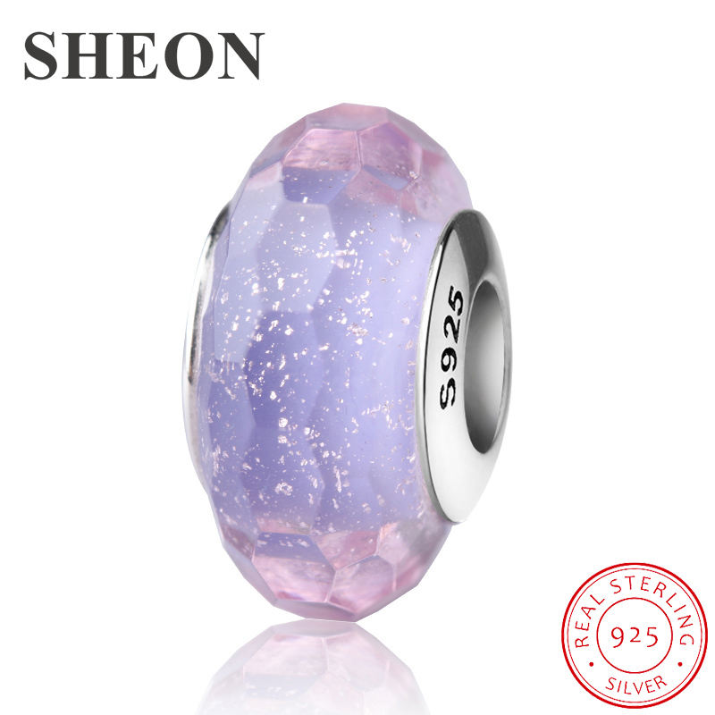 SHEON Dazzling Murano Glass Beads 925 Silver Charms Fit Original Pandora DIY Bracelet Women Sterling Silver Jewelry Accessories in Beads from Jewelry Accessories