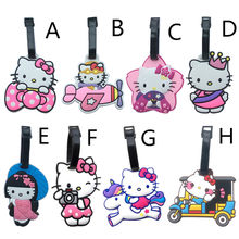 2017 New Cute ID Luggage Tags Hello Kitty Creative Cartoon Silicone Girls Suitcase/Handbag Label Tag Pink PVC Travel Accessories(China)
