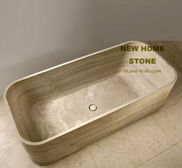 Travertine designer soaking tub rectangular luxury bathtub cut out ...