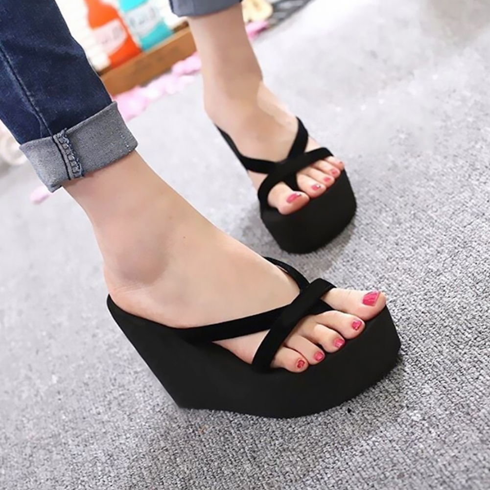 Platform Sandals Women High Heel Zapatillas Summer Shoes Fashion Strapped Slippers Beach Flip Flops Solid Slides Women