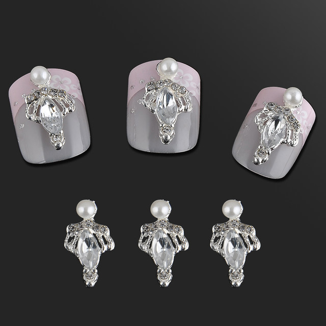 Online Shop Fashion Sliver Plated Pear Crown Mail Art Decorations ...
