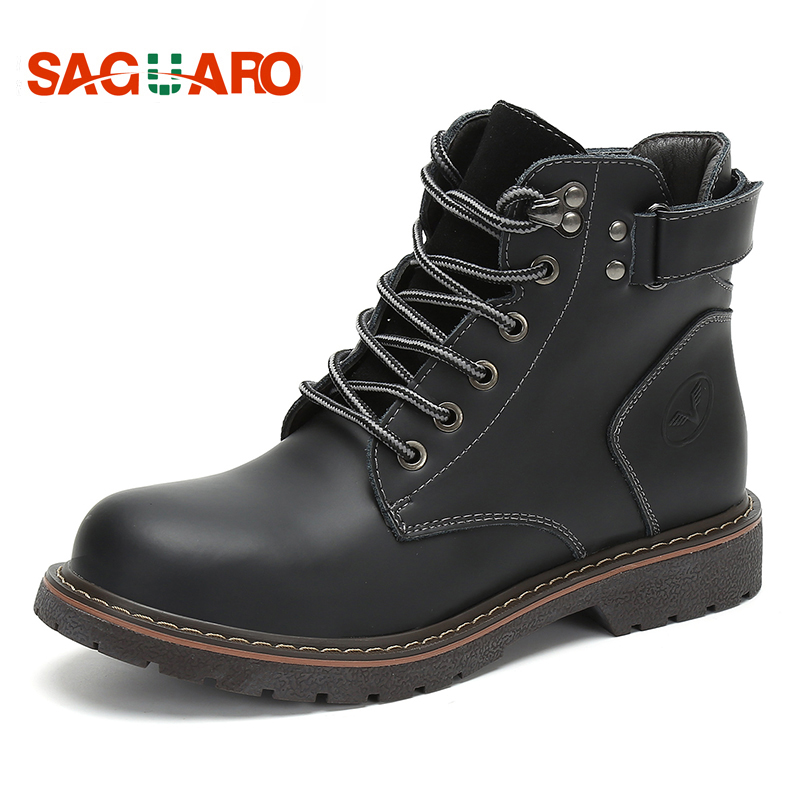 SAGUARO Winter Boots for Men 2018 Vintage Men Shoes Casual Fashion Genuine Leather High-Cut Ankle Martin Boots Chaussure Hombre