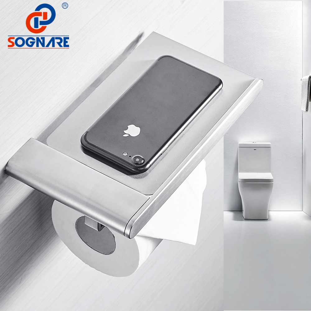SOGNARE 304 Stainless Steel Toilet Paper Holder With Phone Shelf Toilet Tissue Wall Toilet Roll Holder Bathroom Accessories