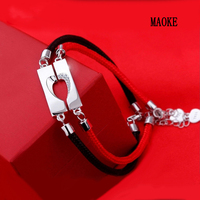 Promotions s925 silver yong knot concentric couple red black rope bracelet Fashion Jewelry for Women's Fashion Gifts