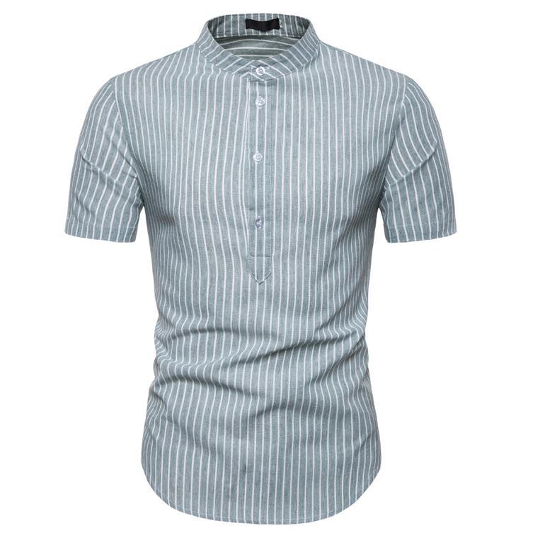 Striped Casual Shirt for Men Summer Men Dress Shirts Short sleeved Pullover Blouse Men 39 s clothing Slim fit in Casual Shirts from Men 39 s Clothing