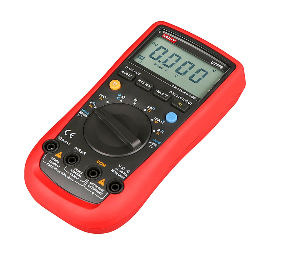 2017 Digital Multimeters UNI-T UT108 Handheld Automotive Multi-Purpose Meters AC DC Volt Amp Ohm Hz Temp Meters 2000 Counts