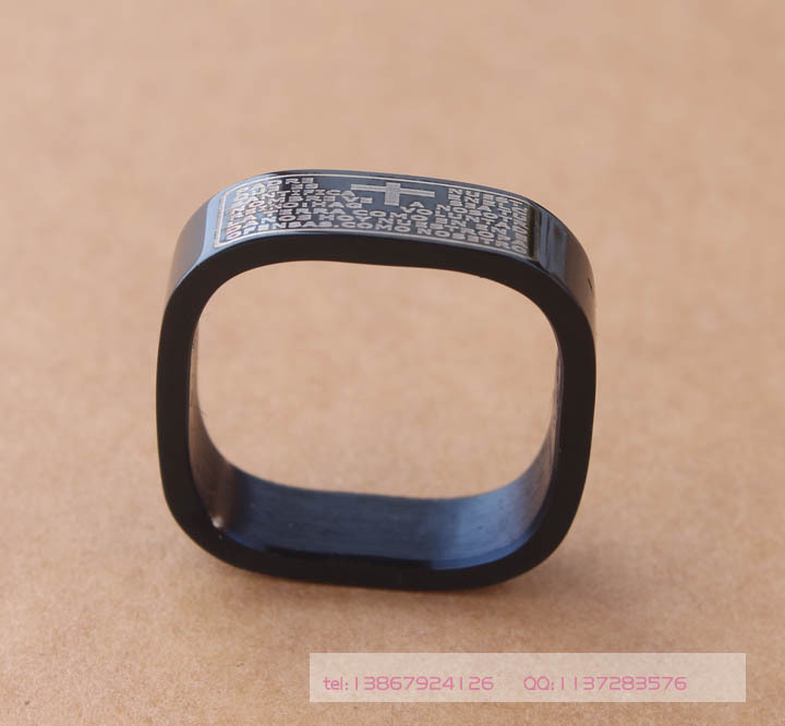 free shipping Black Scripture 316L Stainless Steel Jesus Bible verses Band 6mm Square Screw Nut Ring US Size 6 7 8 9 10