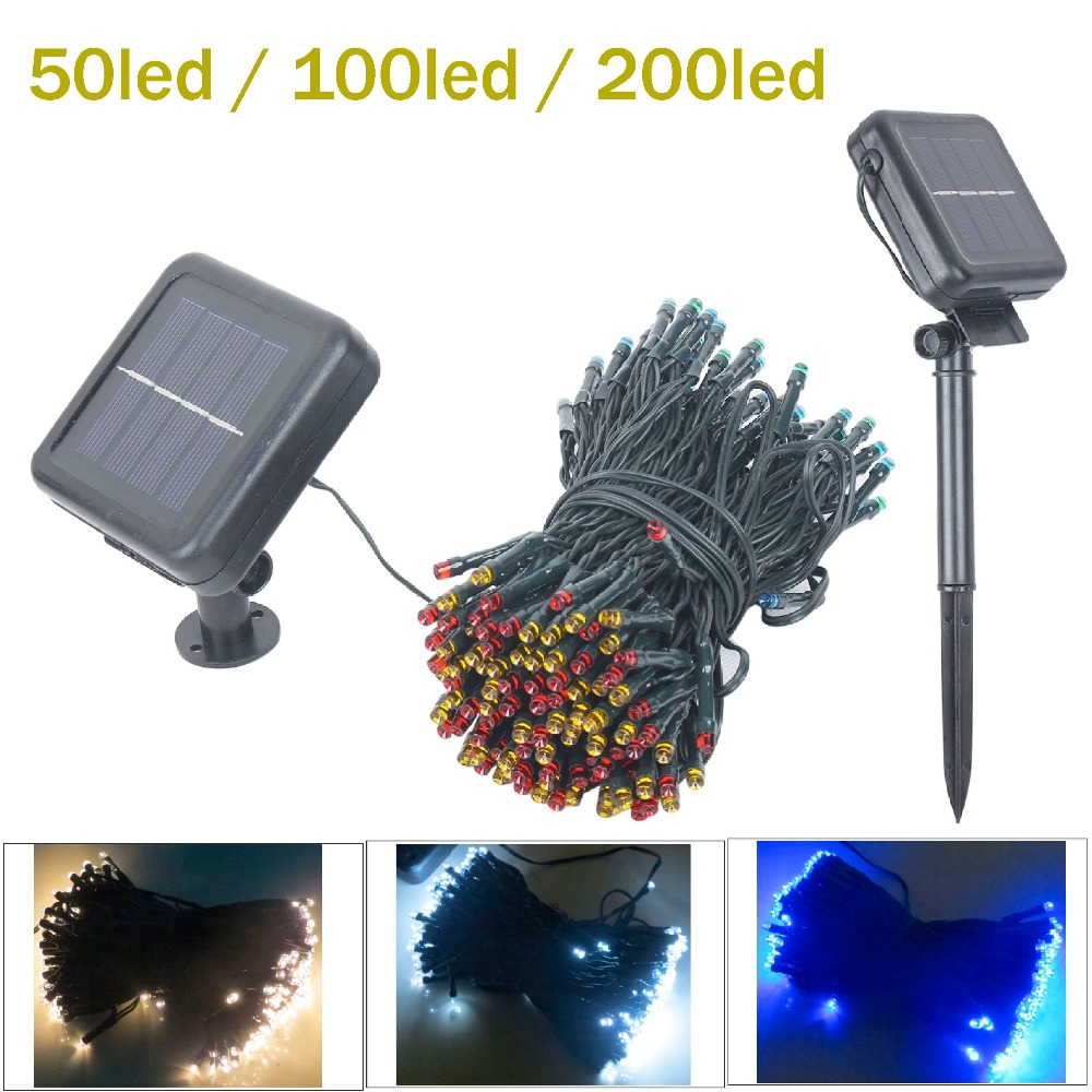 solar led string light christmas light garland 50 100 200 led fairy lights with battery outdoor. Black Bedroom Furniture Sets. Home Design Ideas