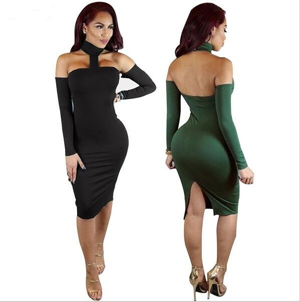 Party Dresses Women 2017 Autumn Off Shoulder Long Sleeve Bodycon