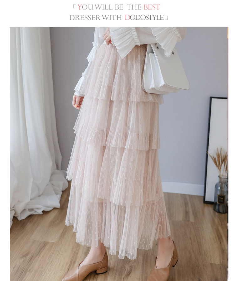 Fitaylor Spring New Sweet Cake Layered Long Mesh Skirts Princess High Waist Ruffled Vintage Tiered Tulle Pleated ins Skirts 3