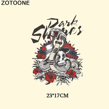 ZOTOONE Punk Flower Snake Patch Iron On Transfer Embroidered Letter Frog Scorpion Skull Patches For Clothes DIY Jeans Heat Press