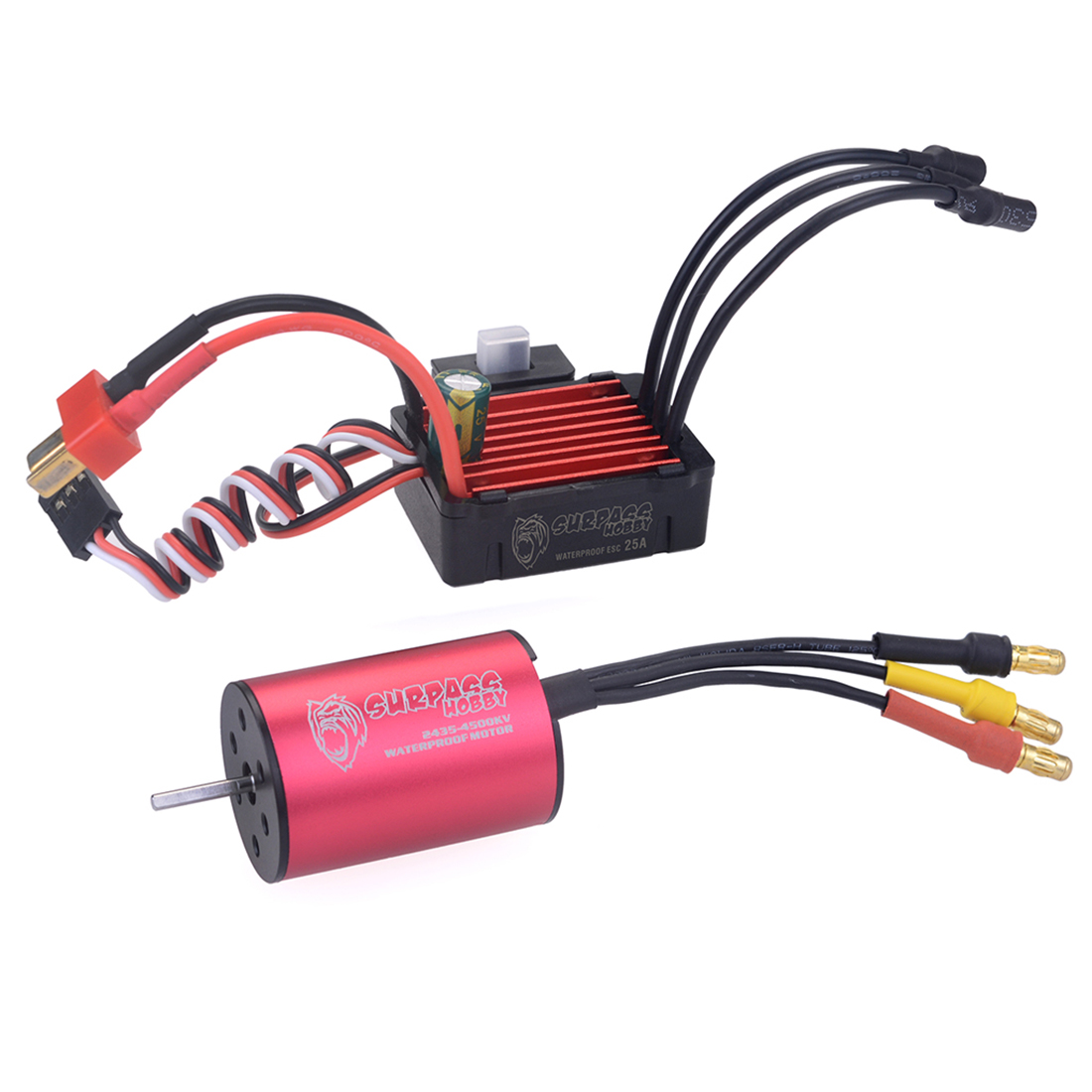 2435 4500KV Waterproof Sensorless Brushless Motor with <font><b>25A</b></font> <font><b>ESC</b></font> for 1:16 / 1:18 RC Model Car - Black Red image