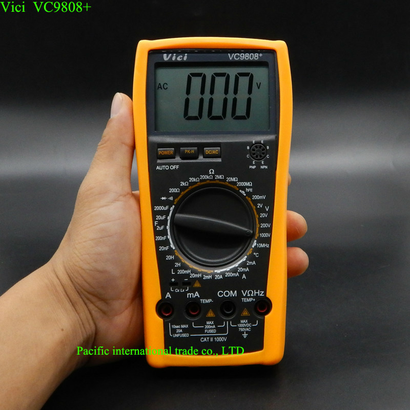 3 1/2 Digital multimeter Electrical Meter Inductance Res Cap Freq Temp AC/DC Ohmmeter Inductance Tester VICI VC9808+ high quality victor digital multimeter 4 1 2 t rms res cap freq diode continuity vc980