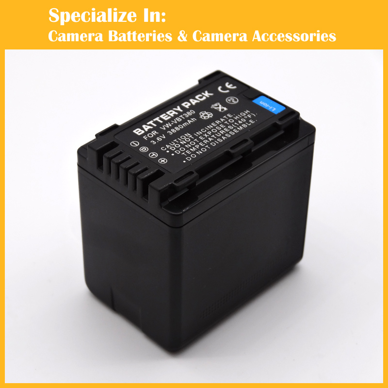 3880mAh VW VBT380 VBT380 Camera Battery for Panasonic HC V110 HC V130 HC V160 HC V180