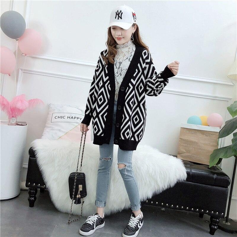 Blusas De Inverno Feminina Full Rushed Diamond Knitting Sweater Woman Cardigan Loose Coat 2018 New Pattern Korean Autumn Jacket