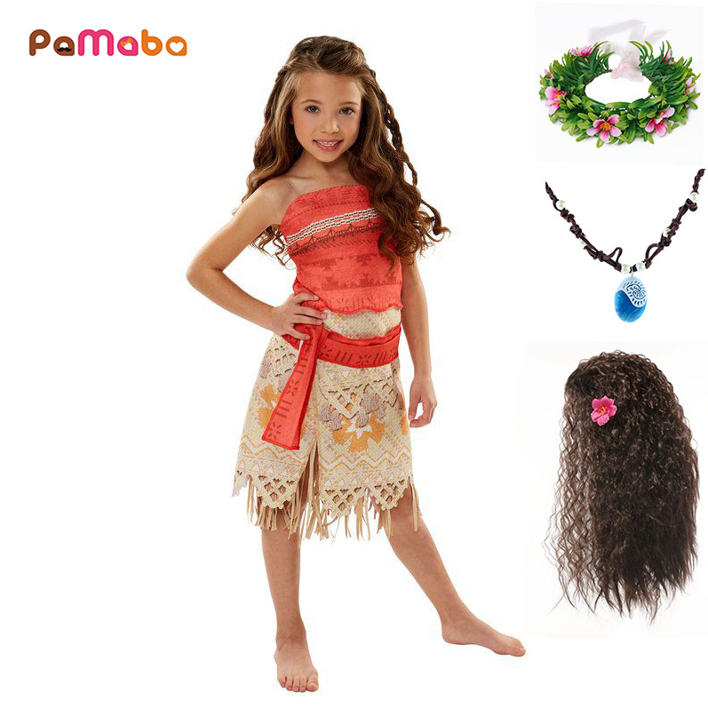 PaMaBa Kids Moana Adventure Costume Girls Dress Summer Clothes Princess Vaiana Clothing Set Children Birthday Cosplay Dress up 2017 robe fille moana girls dress vaiana bikini one piece swim bow wear kids moannaj children trolls dress swimsuits biquini