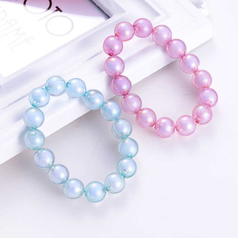SUKI Summer Fashion Blue Pink Acrylic Beaded Bracelets Colorful Kids Children Strand Bracelet Bangle Party Boys Girls Jewelry