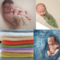1 Set Newborn Baby Mohair Blankets Wrap With Headband Girl knitting crochet Costume Infant Photography Props Photo Blankets