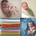 1 conjunto de Mohair recém-nascido envoltório com cabeça de tricô crochet Costume fotografia infantil adereços foto cobertores