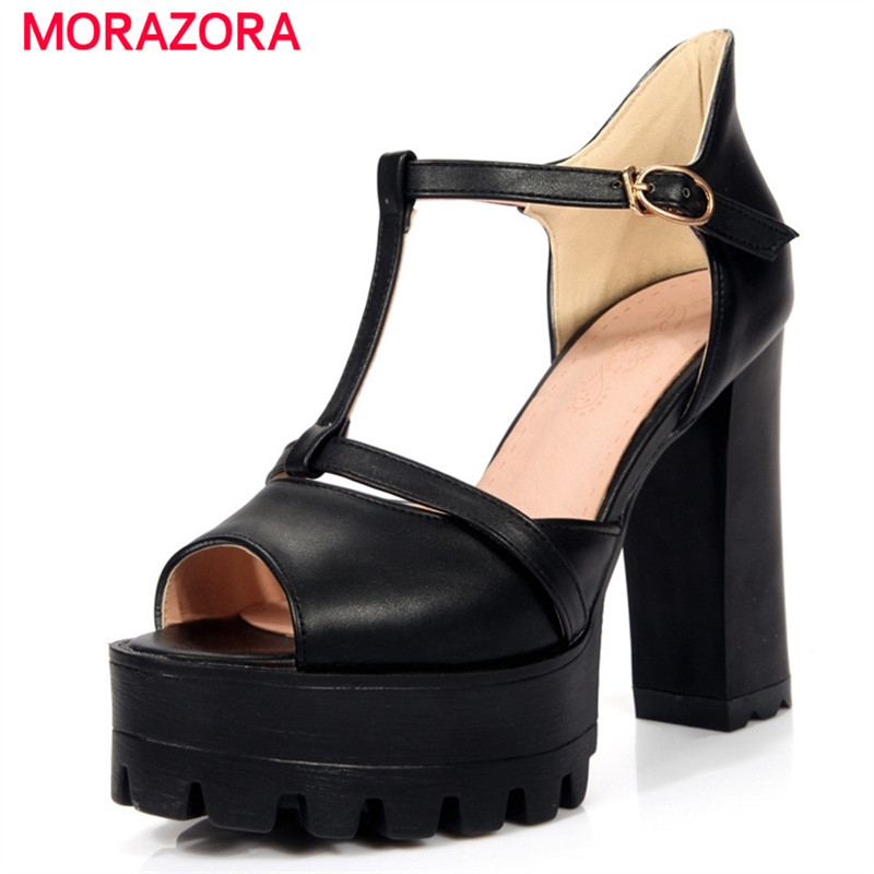MORAZORA Peep toe summer shoes fashion big size 32-43 high heels shoes platform women sandals cover heel party lsewilly plus size 32 43 hot 2017 summer women sandals fashion high heels sandal sexy peep toe platform party dress shoes vv939