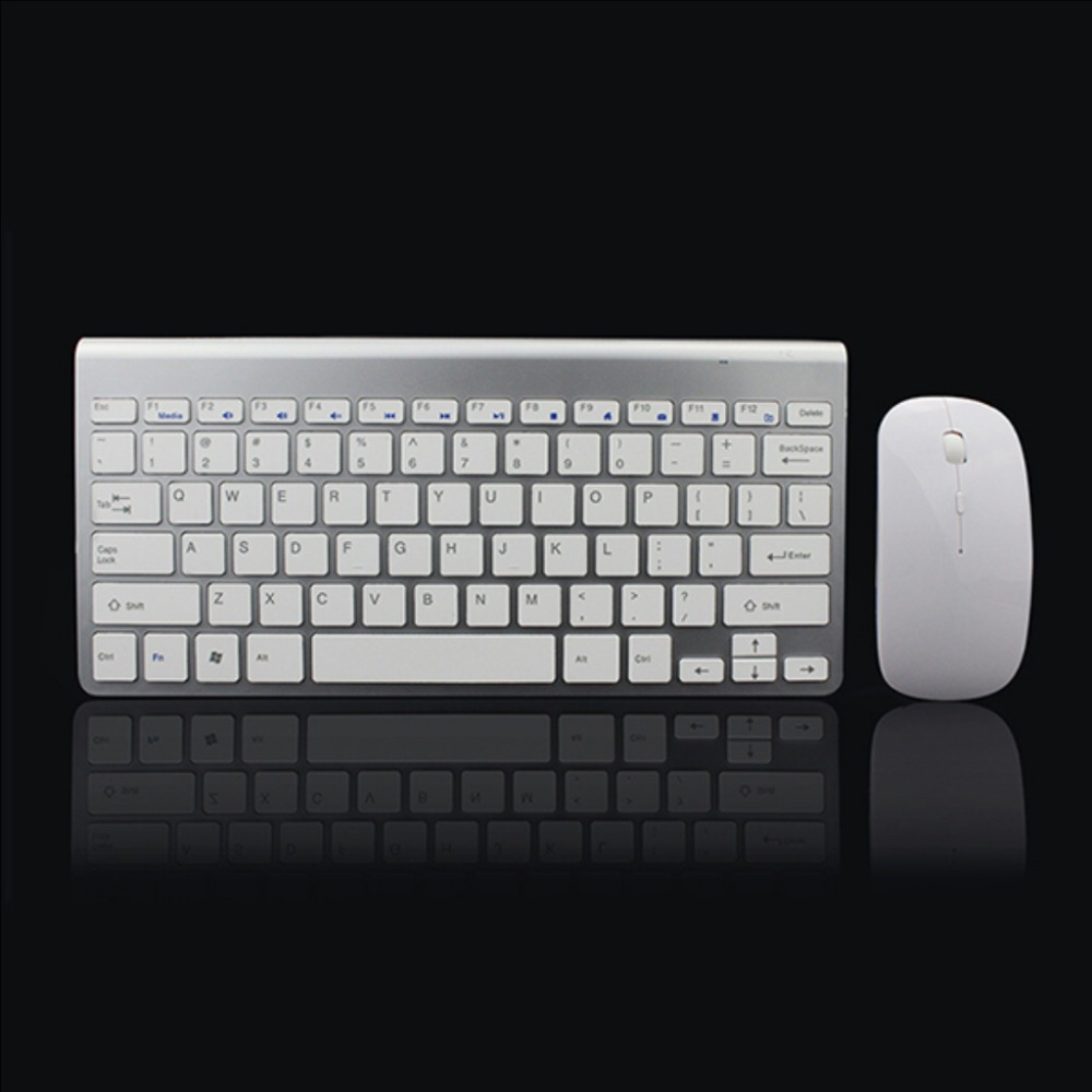 hot-2.4Ghz Ultra-Thin Wireless Keyboard And Mouse Combo With USB Receiver Mouse Keyboard set For Apple PC WindowsXP/7/8/10 sil
