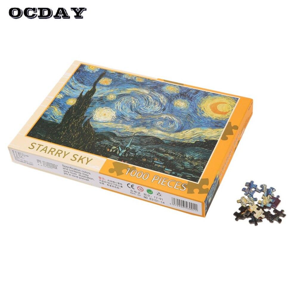 OCDAY 1000 pièces/ensemble 4 Types Puzzle bricolage enfants Puzzles paysage papier Puzzle jouets éducatifs pour enfants adultes Puzzles chaud