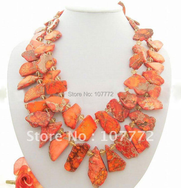 Amazing! 2Strds Imperial Jasper&Crystal Necklace