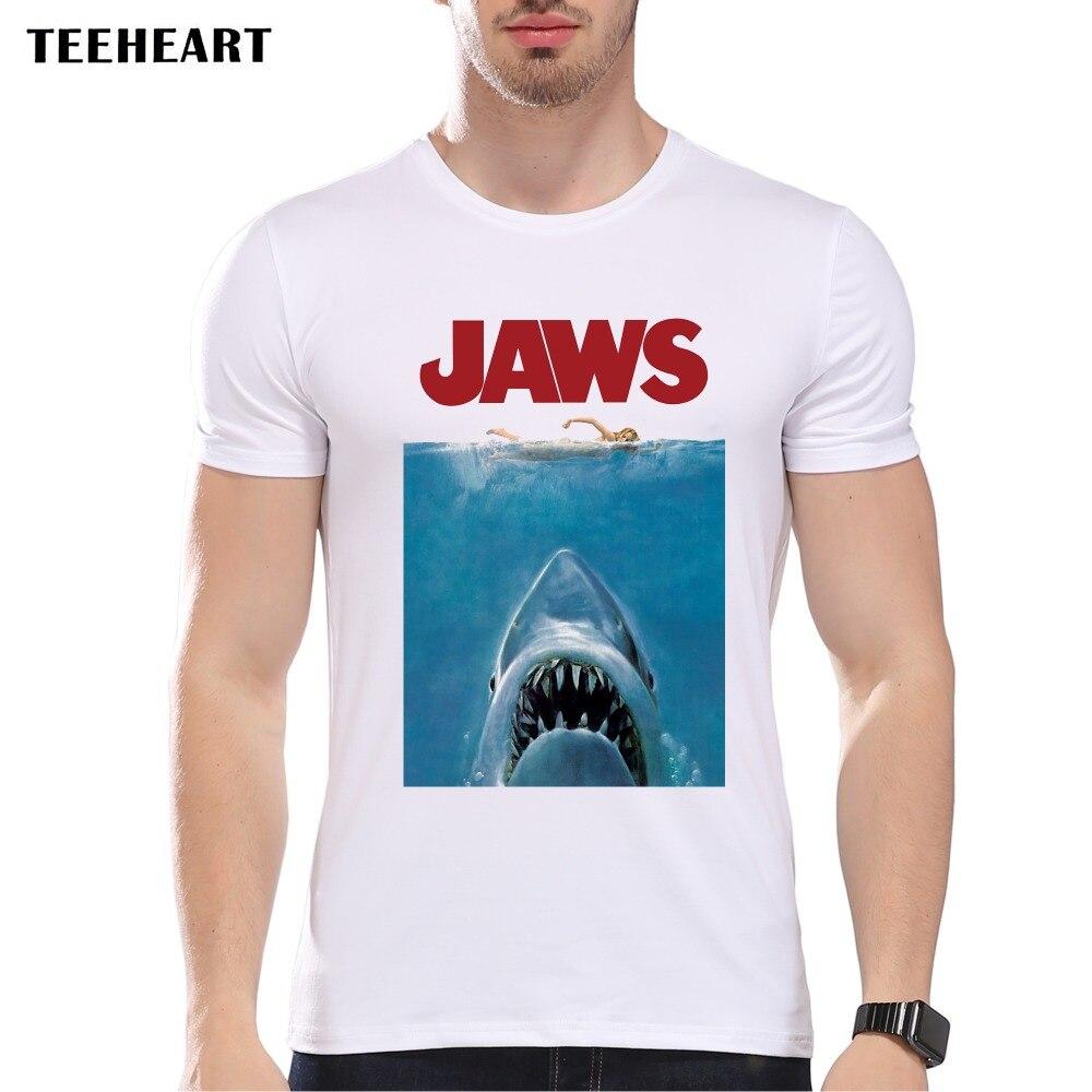 Design t shirt vintage - Teeheart 2017 Summer Vintage Movie Jaws Design T Shirt Men S High Quality Hipster Shark Print Tops