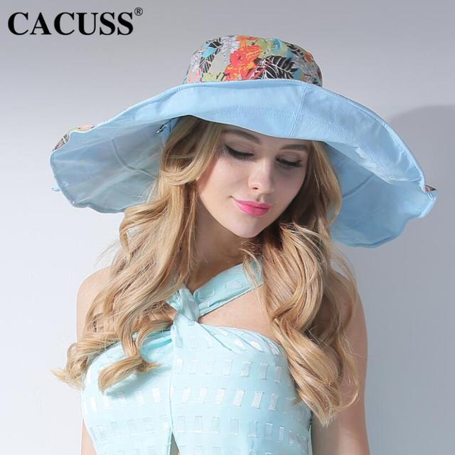 CACUSS Designer Floral Sun Hats Wide Brim Women Bohemia Caps Foldable  Traveler UV Protection Summer Beach Cap Hot Sale 2017 141da7be8b9