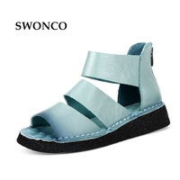 40 Plus Size Design Ankle High Summer Sandals Shoes Woman 2017 New Genuine Leather Wedge Low