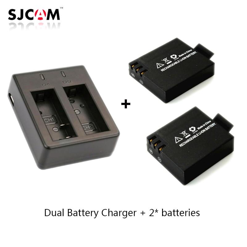 2pcs original SJCAM Sj4000 battery Sj5000 battery + Dual Battery Charger for SJCAM SJ4000 5000 Series Camera Accessories