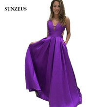 Backless Purple Satin Wedding Party Dress for Women V Neck A-Line Simple  Long Bridesmaid 5da0270fbcf7