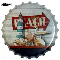 [ Mike86 ] BEACH SEA GULL Mediterranean Bottle Cap Wall Painting Retro Metal Tin sign Bar Home Party Plaque Decor 40 CM BG 33