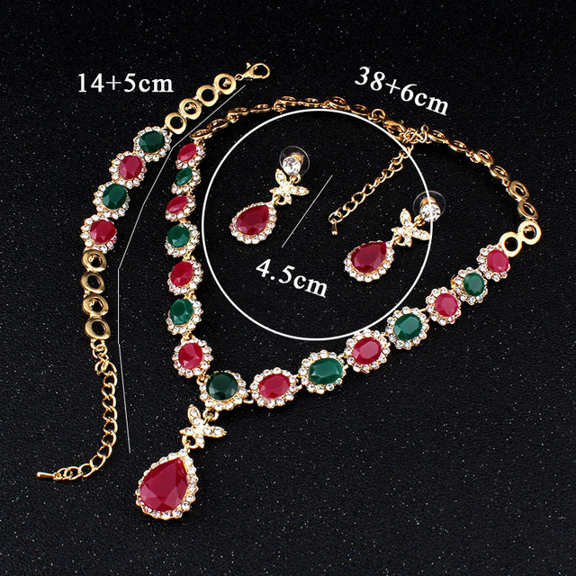 jiayijiaduo multicolor crystal gold-color jewelry necklace earrings accessories fashion of women European african jewelry sets