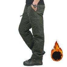 ฤดูหนาว Double Layer Mens Cargo กางเกงอบอุ่น Baggy กางเกงผ้าฝ้ายกางเกงสำหรับชายชายทหารยุทธวิธีลวงตายุทธวิธี