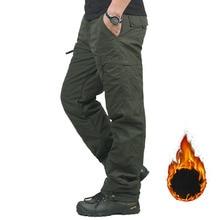 Marka zima podwójna warstwa męskie spodnie Cargo ciepłe workowate spodnie spodnie bawełniane dla mężczyzn mężczyzna wojskowy kamuflaż taktyczny