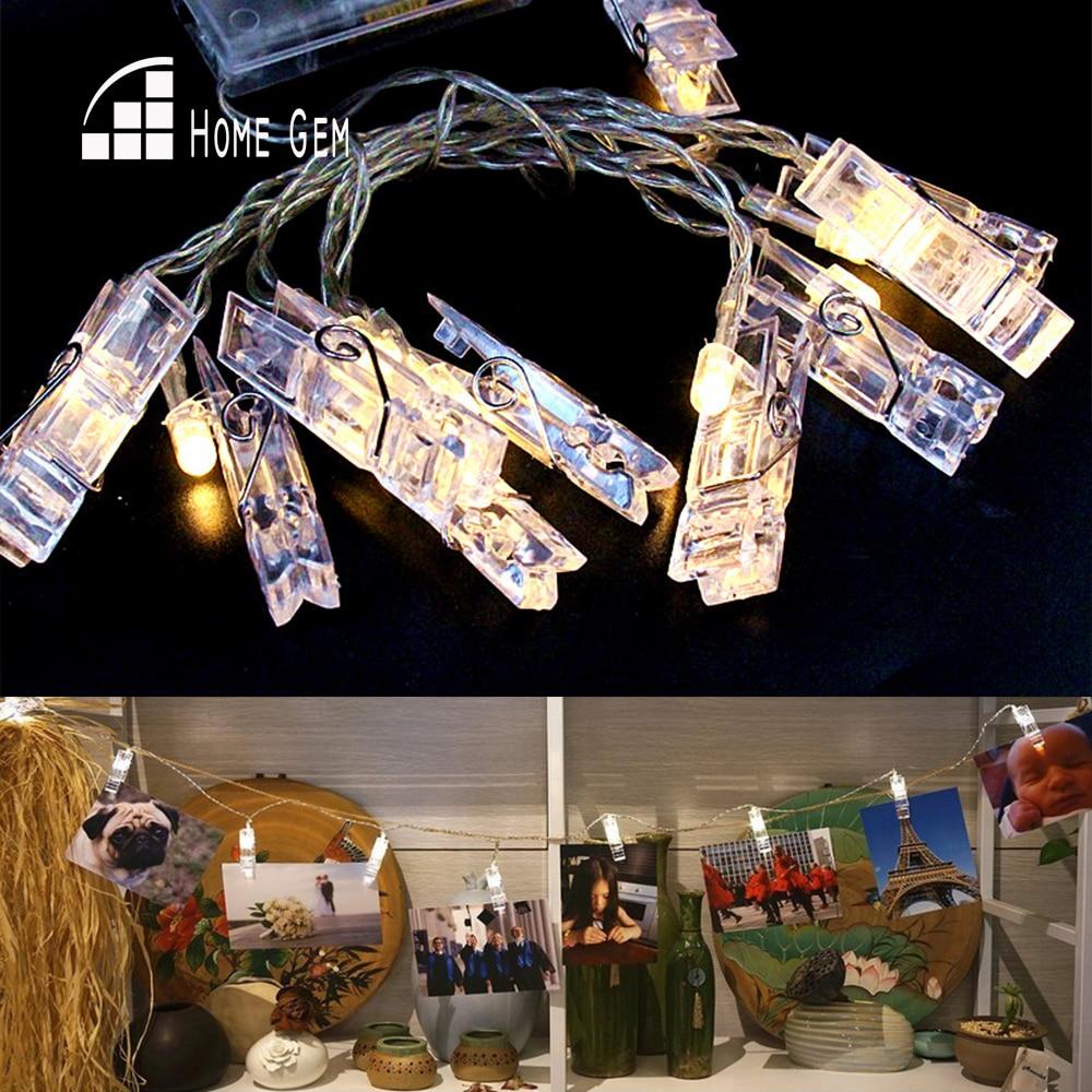 10 stk LED String Lights w / fotoklips 1.6M Batteridrift LED til Holiday Wedding Party Room Decoration
