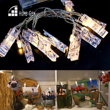 10pcs LED String Lights w/photo clips 1.6M Battery Operated LED  for Holiday Wedding Party Room Decoration