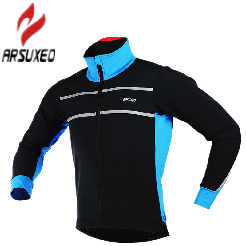 Arsuxeo 2017 Men's Winter Cycling Jacket Thermal Warm Fleece Windproof Outdoor Sports Coat MTB Bike Bicycle Cycle Clothing topeak outdoor sports cycling photochromic sun glasses bicycle sunglasses mtb nxt lenses glasses eyewear goggles 3 colors