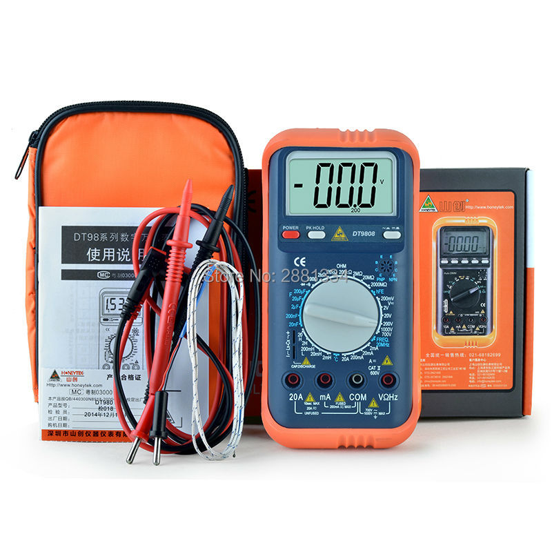 2017 hot sale DT-9808 Multimeter Meter Current AC/DC Voltage Resistance Capacitance Frequency Temperature Tester Detection uxcell digital multimeter ac voltage current resistance capacitance frequency temperature tester meter 600mv 6v 60v 600v 1000v