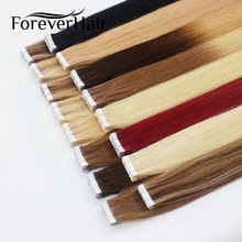 "FOREVER HAIR 2.0g / pc 18 ""Remy Tape I Menneskehår Forlengelse Full Cuticle Seamless Straight Skin Weft Hair Salon Style 20pcs / pac"